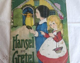 Hansel and Gretel - Antique Linen Book - Color Children's Fairy Tale 1916