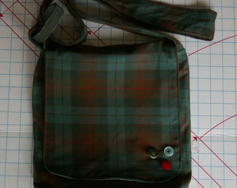 Chrissy's Messenger  Bag -  Green Red Plaid
