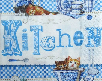 Decoupage paper napkins Decoupage paper Napkin for decoupage Eat Cat Kitchen Blue