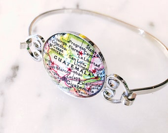 Guatemala Map Bangle Bracelet - Custom Map Jewelry - Central America - Great Gift