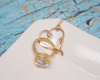 SALE - Heart Clasp Ring Holder Necklace, Yellow Gold Filled, Wedding or Engagement Ring Holder Pendant / Heart Clasp Ring Holder Pendant