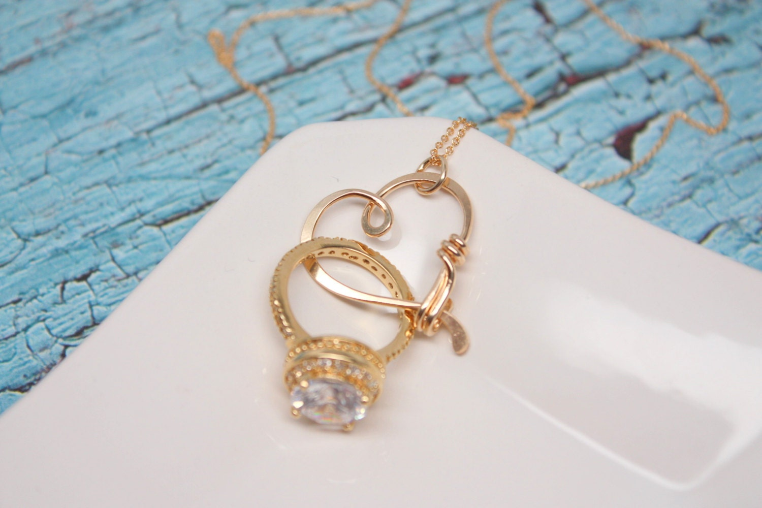Heart Clasp Ring Holder Necklace Yellow Gold Filled Wedding