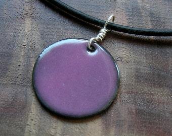 Aubergine Purple Copper Enamel necklace pendant orchid