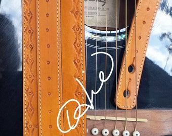 Guitar Strap / Hand Tooled Leather Guitar Strap... Acoustic Guitar, Electric Guitar , Bass Guitar Strap