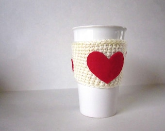 Valentine's Mug Cozy in Cream with Red Hearts - Crochet Coffee Sleeve - Hot or Cold Drink Holder - Coffee Lover - Gift for Her - Love Gift