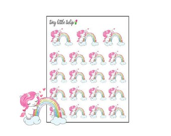 Planner Stickers Unicorn Hugging a Rainbow