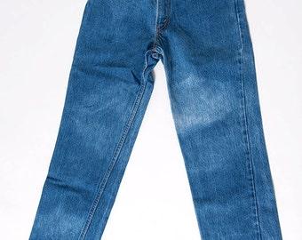 The Vintage Bleached Dark Wash Indigo Levis Jeans - WAIST 25