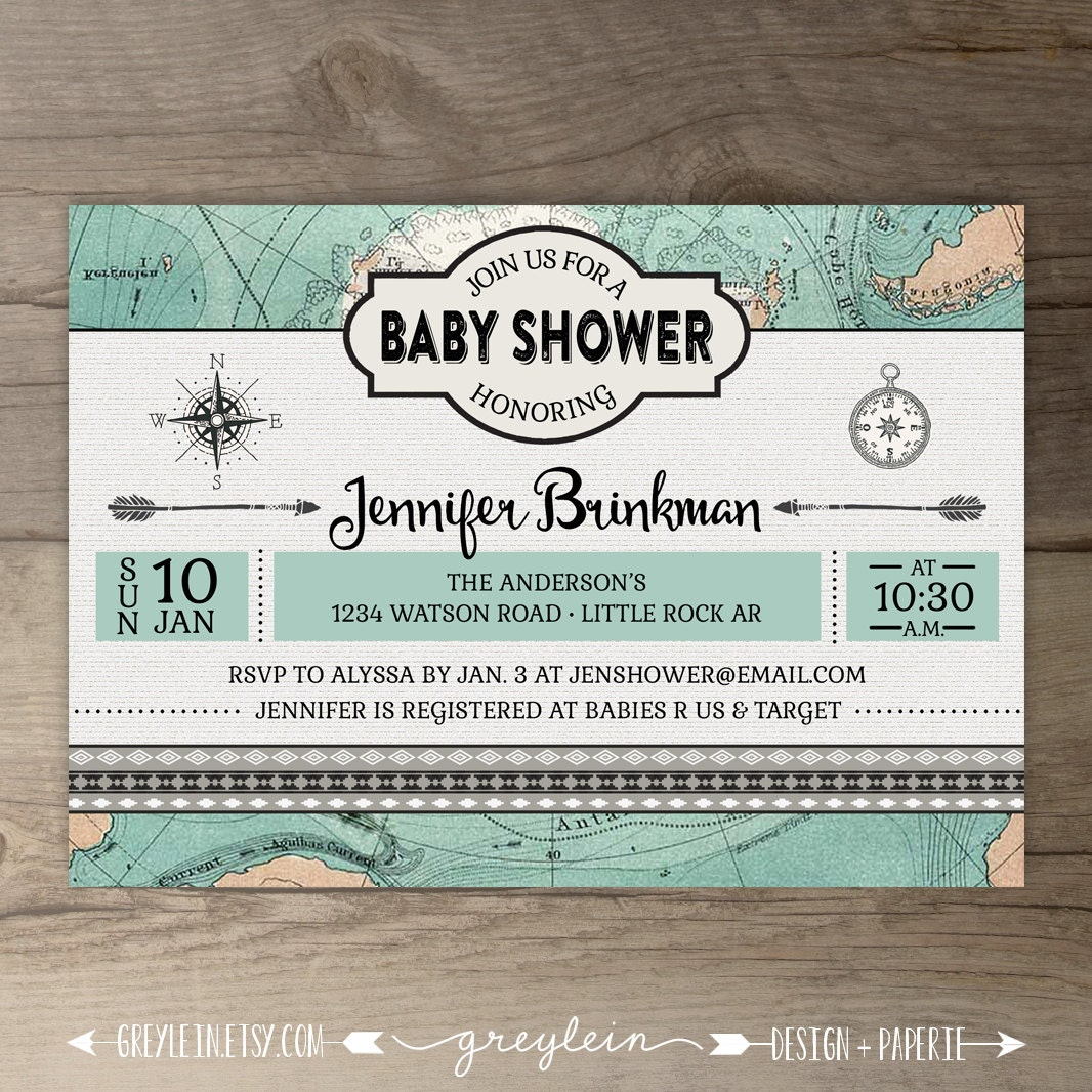Travel Theme Baby Shower Invitations Vintage Map