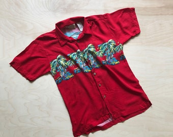 Kid's 90's Red Hawaiian Shirt