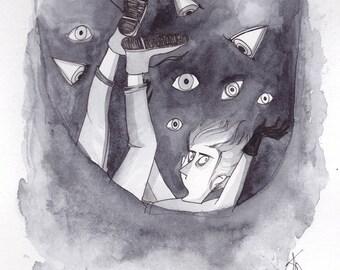 """Illustration originale - encre et aquarelle """"I see you"""""""