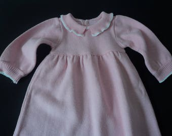 French vintage knitted babies dress age 6 months (05493)