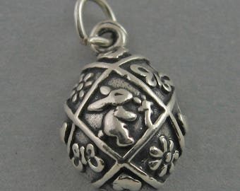 EASTER EGG W/ BUNNY Flowers Sterling Silver 925 Charm Pendant 3D 2828