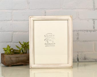 8x10 Picture Frame in Double Cove Style with Vintage White Finish - IN STOCK - Same Day Shipping - Rustic Solid Wood Frame 8 x 10