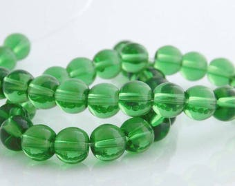 8mm Round Green Glass Beads, Pack of 40 Beads for Jewelry Making
