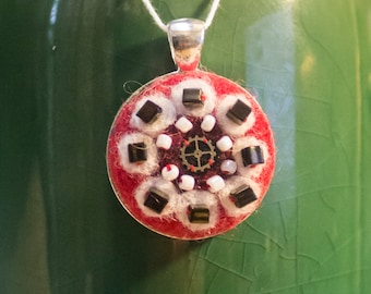 "OOAK Needle Felted Kaleidoscope Pendant - ""Top Secret"""