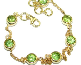 Chrome Diopside, Peridot Sterling Silver Bracelet - weight 5.60g - dim 1 4 inch - code 29-mar-18-68