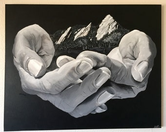 Lifting the Boulder Flatirons - Original Acrylic