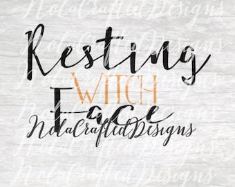Witch Svg - Witch Png - Halloween Svg - Halloween Png - Resting Witch Face Svg - Resting Witch Face Png - Silhouette, Cricut, Vinyl Plotter