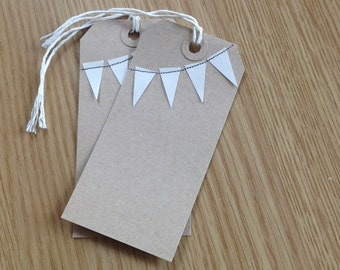 Handmade bunting gift tags - kraft brown with cream