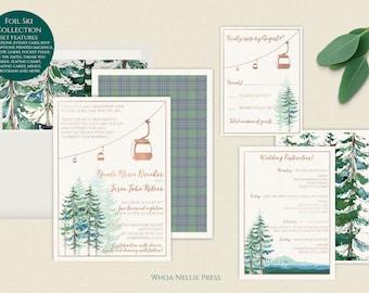 Ski Wedding Invitations - Mountain Wedding - Gondola - Chairlift - Rose Gold Foil - Elegant Rustic