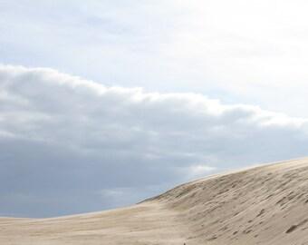 Landscape Art Print, Nature Photography Cloud Desert Beach Art Dune Wall Art Wall Decor Blue Silver