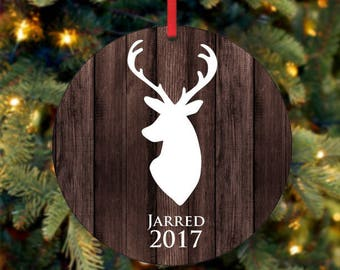 Personalized Christmas Ornament, Baby Boy Keepsake Ornament, Christmas Deer, Christmas Gift, Custom Ornament, 2017 Ornament  (0017)