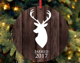 Personalisierte Weihnachtsschmuck, Baby Boy Andenken Ornament, Weihnachten Deer, Weihnachtsgeschenk, benutzerdefinierte Ornament, 2017 Ornament (0017)
