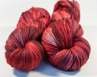 Hand Dyed Superwash Merino Sock Yarn - SUPER SQUISHY! - Bowl Full of Cherries