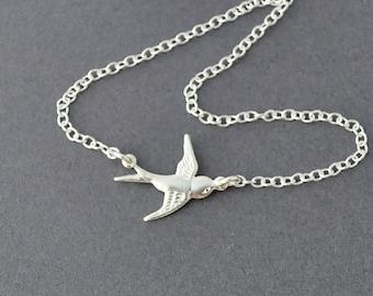 silver bird Necklace, Sparrow Necklace, Bird Charm Necklace, flying bird, sparrow necklace by jewelmango