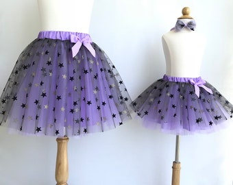 Mother and daughter matching skirts. Mommy and me matching tutu. Gray and purple star tutu. Star birthday outfits. Halloween costume.