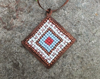 Ethnic pendant bead necklace handmade braided leather cord, Bohemian,Ethnic Necklace