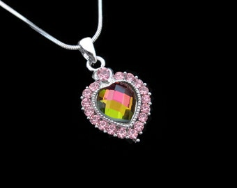 Crystal Heart Pendant Charm Necklace Silver Tone Light Rose Pink With 10mm Heart Rainbow Medium Vitrail