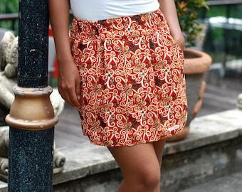 Red Skirt / Tribal Mini Skirt / Floral Skirt with Pockets / Summer Skirts