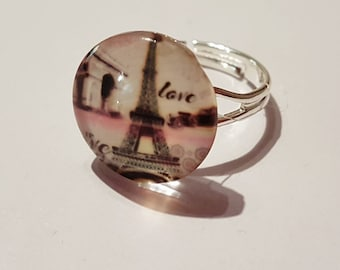 Pretty Paris, Stunning Eiffel Tower Print Adjustable Ring - FREE GIFT WRAPPING