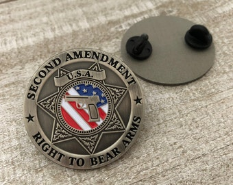 Second Amendment Right To Bear Arms USA Pin