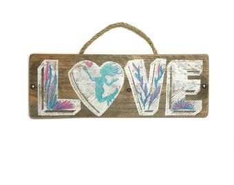 Personalize This Original Art-Blue Mermaid Love Sign Handmade Reclaimed Wood Rustic Wedding Beach Wedding Mangoseed