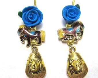Horse Earrings Western Jewelry Blue Rose Golden Cowboy Hat