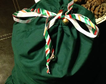Green Gift bag, reusable gift bag, cloth gift bag - Green with striped ribbon and bells