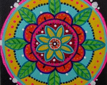colorful mandala, acrylic painting, small artwork, flower mandala, contemporary art, bold bright color, art with flowers, zen art, design