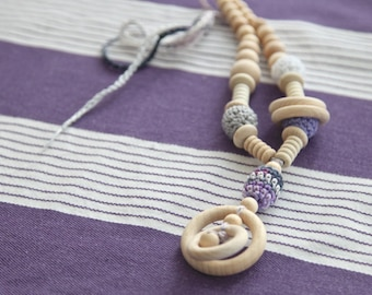 Organic cotton nursing necklace. Mummy and baby teething necklace. Girls crochet necklace. Grey and lilac