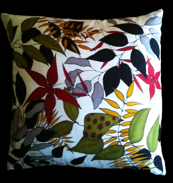 """Throw Pillow,  Hand Painted Silk - """"So Many Leaves"""""""