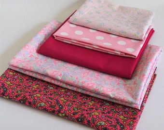 Fabric Bundle- Fabrics Pink Pattern Floral Paisley Polka Dots Plain-Fabric Scraps Cotton-Sewing Quilting Patchwork Material
