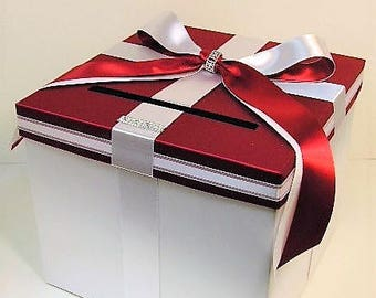 Wedding Card Box Red/Scarlet and White Gift Card Box Money Box Holder--Customize your color
