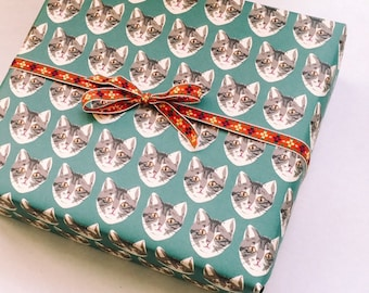 Green Cat Wrapping Paper Sheet