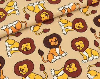 Cotton jersey Small Lions on beige (9.90 EUR/meter)