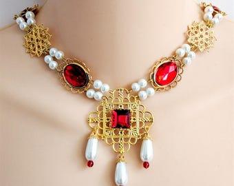 SALE Renaissance Jewelry, Renaissance Necklace, Medieval Necklace, Tudor, Medieval Jewelry, Cosplay, Gold Pl Settings & Filigree, Rdy 2 Ship