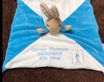 Beatrix Potter Peter Rabbit Comfort Blanket Baby Toy Comforter Pram Toy-Blue, Customised Comforter, Baby Gifts, Baby Shower gifts, baby gift