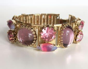 Vintage Art Glass Bracelet * Pink and Purple * 1950s Costume Jewelry