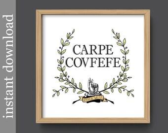 Carpe Covfefe, printable wall art, funny quote print, dorm wall art, dorm decor, office decor, funny Latin quote, trump tweet, covfefe print