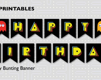 Pac-Man Birthday Party Bunting Banner Printable INSTANT DOWNLOAD